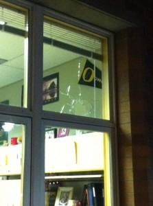 Rock thrown through Schwab's window