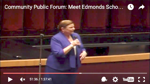 Dr. Kris McDuffy speaks in the MTHS theater and live on HBN during the public forum held Thursday, March 31.