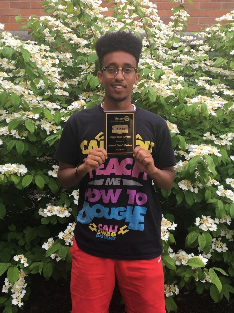 Senior Natu Abraham earns Rotary Club Inspiration award
