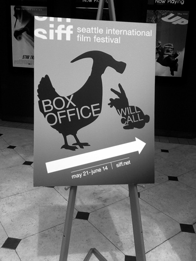 A sign at the SIFF, where Senior Nick Terrys film was accepted.
