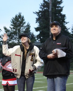 Francine Richardson acknowledges the crowd before being announced as the 23rd member of the MTHS Athletic Hall of Fame during the football game on Oct. 22.