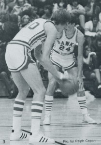 Courtesy of the 1977 Tempo Dan Caldwell steps to the line for a free-throw at home in the old Hawk Dome during the 1977 season. Mark Miller (24) prepares for the rebound. The Hawks lost just one game in troute to the WIAA 3A Championship.