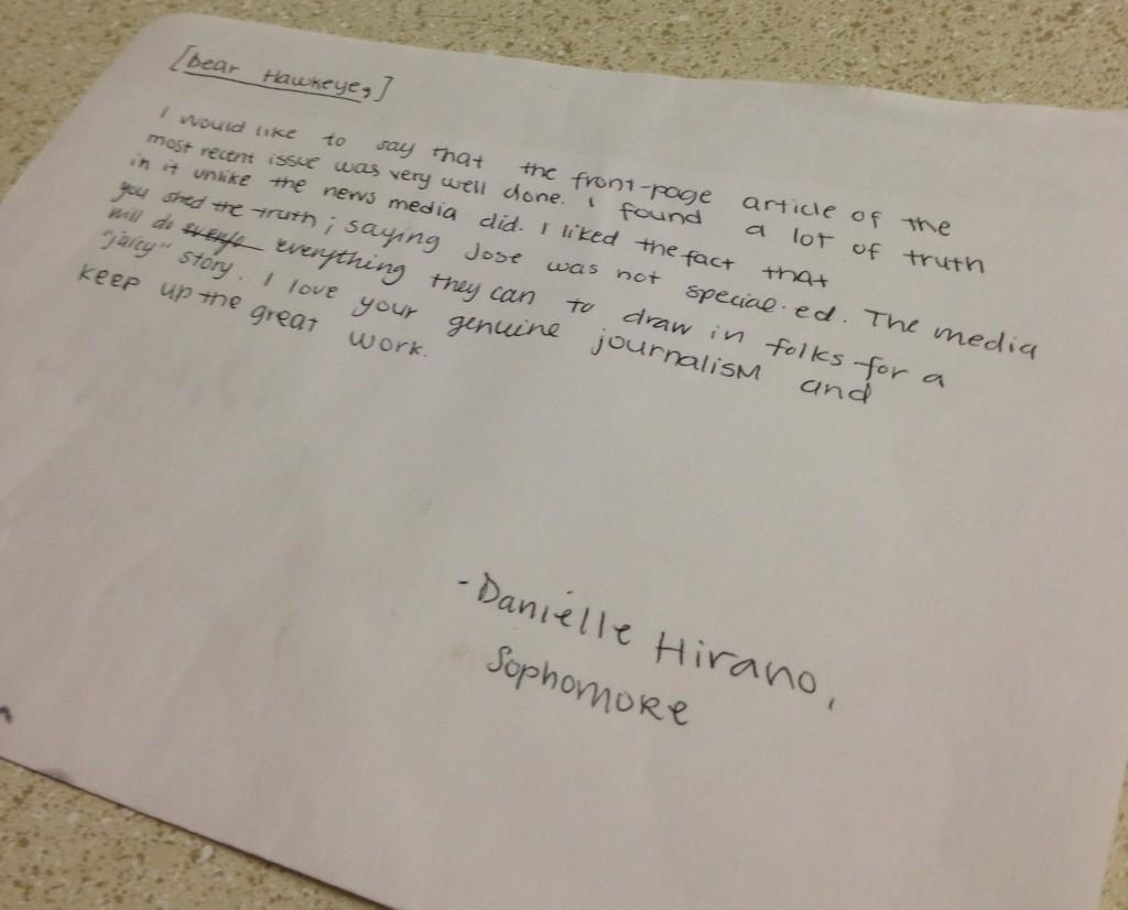 Danielle Hirano, Letter to the Editor