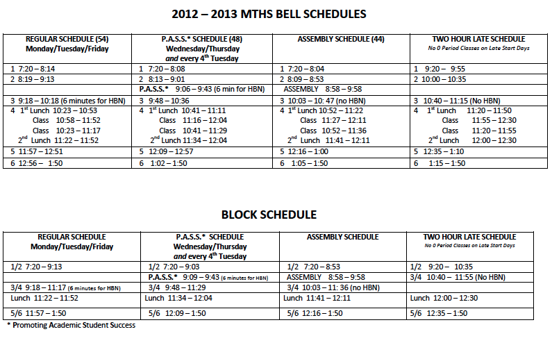 2012-2013 Bell Schedules