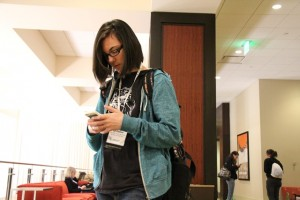 Nick Fiorillo | Hawkeye  Senior Kyra Dahlman is one of the many students using social media during the National Journalism Convention.