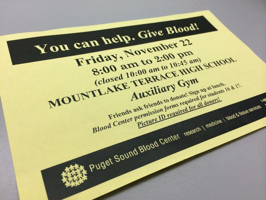 A flyer for the Nov. 22, 2013 blood drive.