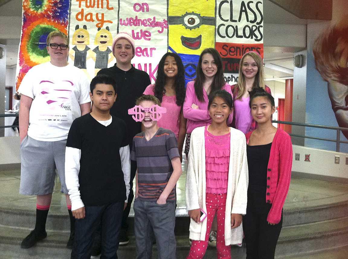 Freshman class ASB showing their school spirit for the