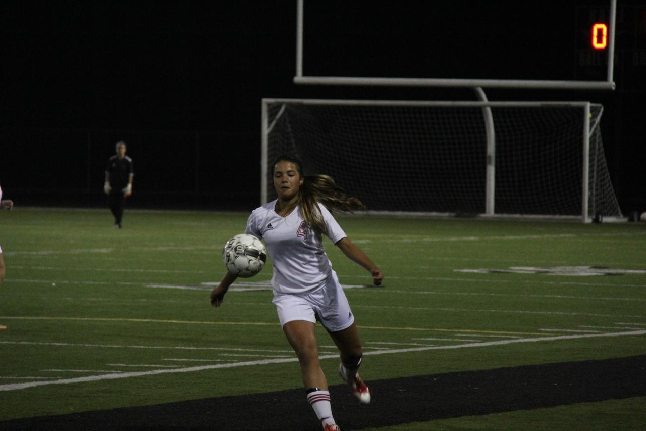 Junior defender Claire Zucker gets ready to trap the ball.