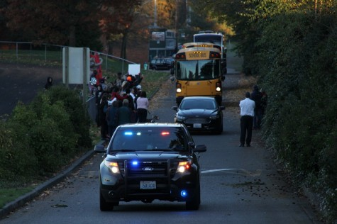 The Hawks get a police escort for their sendoff.