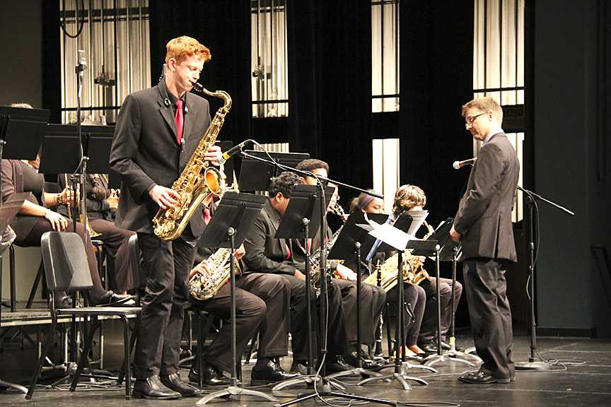 MTHS's Max Knibby solos at the MTHS Jazz Symposium.