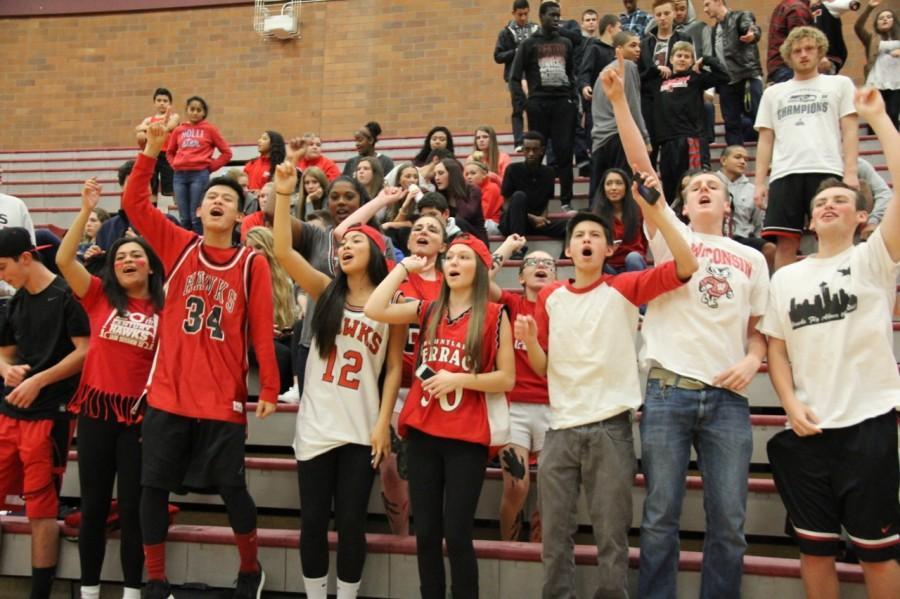 Hawks fans celebrate the win.