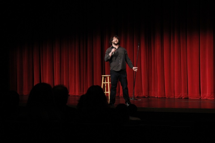 Coletta+makes+the+audience+laugh+with+his+enthusiastic+jokes.