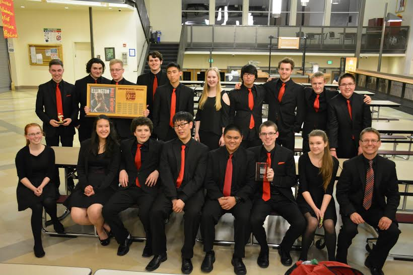 MTHS Jazz 1 musicians after receiving the Sweepstakes Award at the Newport Jazz Festival.