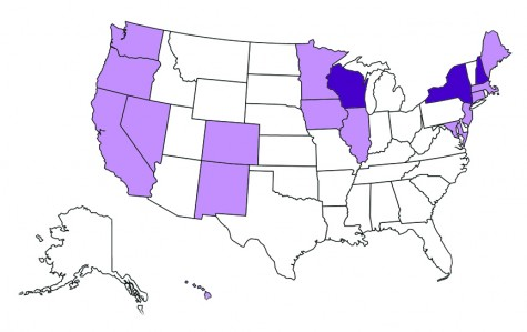 States shaded in light purple have non-discrimination laws covering sexual orientation and gender identity, and prohibit discrimination in employment, housing and public accommodations. States shaded in dark purple have employment non-discrimination laws which cover sexual orientation but not gender identity.