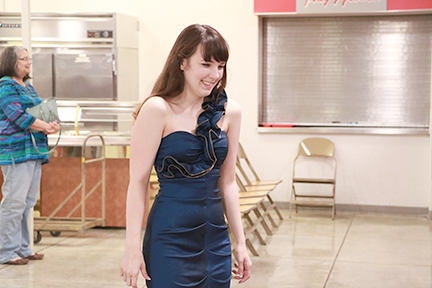 Students tried on numerous dresses at the Glamour Day event, held on September 23.