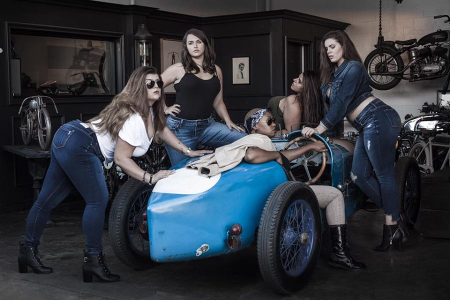 Jesse Hattan (second from the left in the black top) is part of the latest SLINK Jeans campaign.