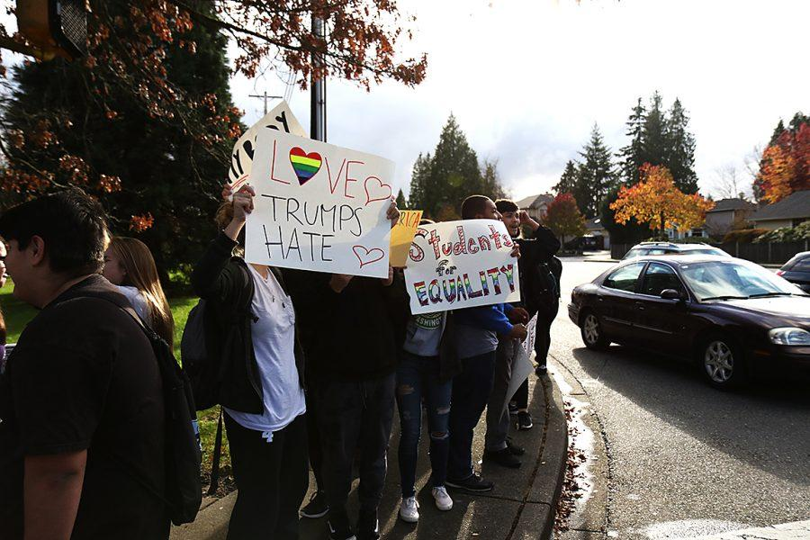 Mountlake Terrace High School students hold signs in protest of this recent election.