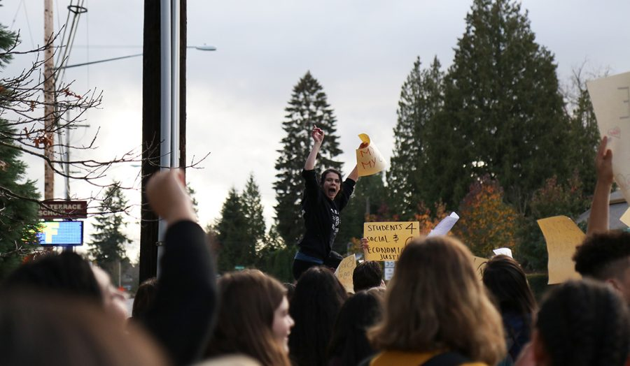 Mountlake Terrace High School student yells her message to the crowd of protesting students.