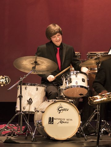 Sophomore Kieran Faris soloing at the Jazz Symposium.