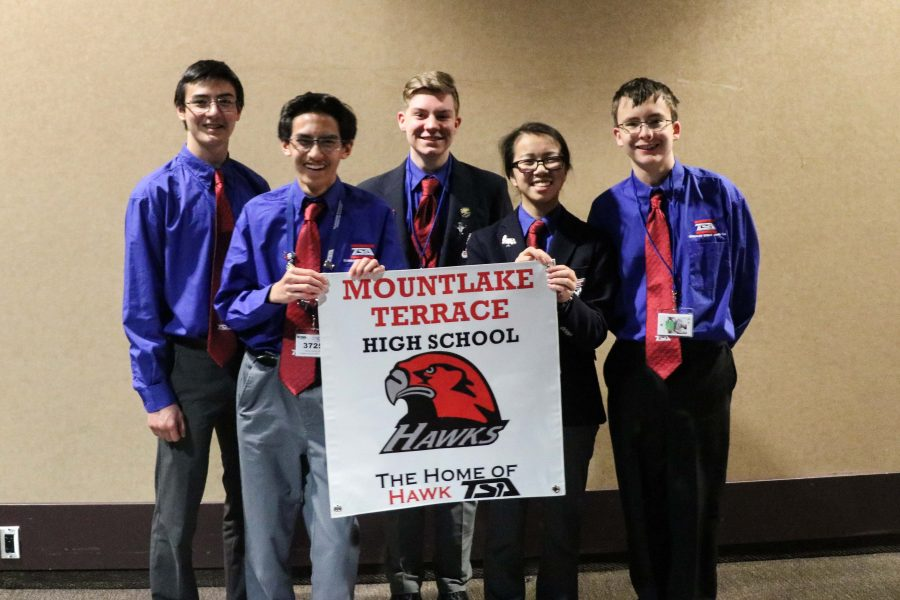 (Left to Right: Freshman Dylan Breuer, sophomore Reiden Chea, freshman Cole Johnston, freshman Meghan Park and freshman Nolan DeGarlais) Silver award winners representing MTHS for their outstanding leadership skills demonstrated through activities such as community service and coordinating TSA-sponsored events.