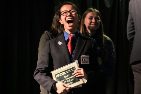 Freshman Meghan Park expresses her excitement for claiming 1st in the SCIVIS event.