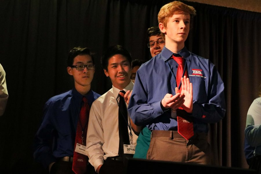 From Right to Left: Sophomores Reece Newhouse, Robert Krieger, Andy Shaw, Daniel Quach and Anthony Le places 4th in the On Demand Video event.