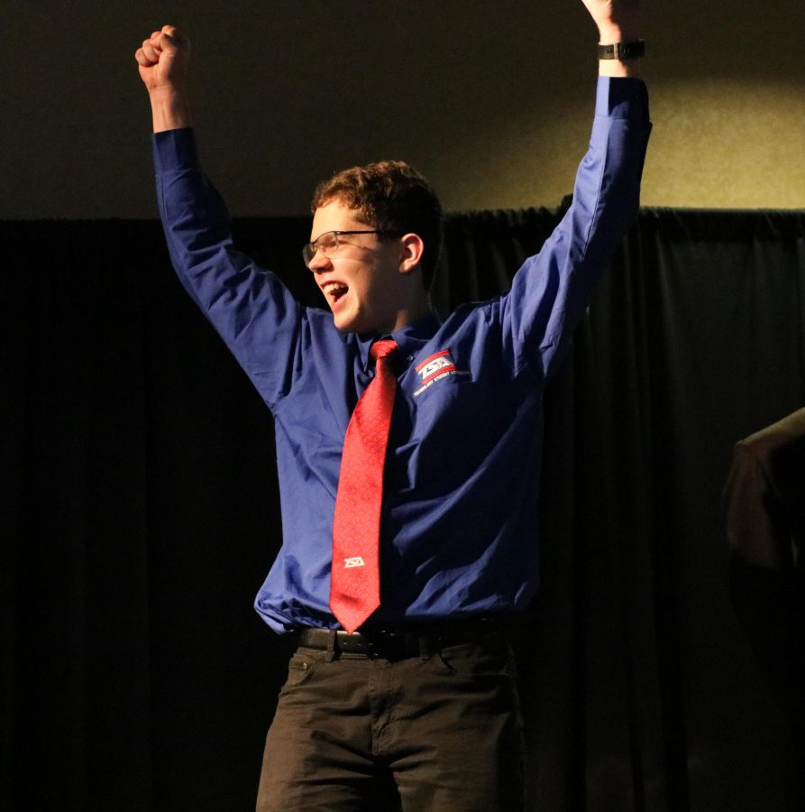 Sophomore Michael Malysh rejoices as he place 2nd in the Dragster Design event.