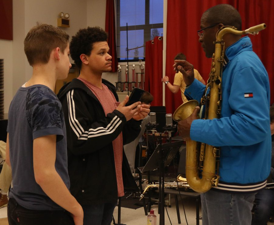 Williams answers questions from Damon Dahl and Owen Moreland, both Jazz 2 students who remained for the 4 hour clinic.