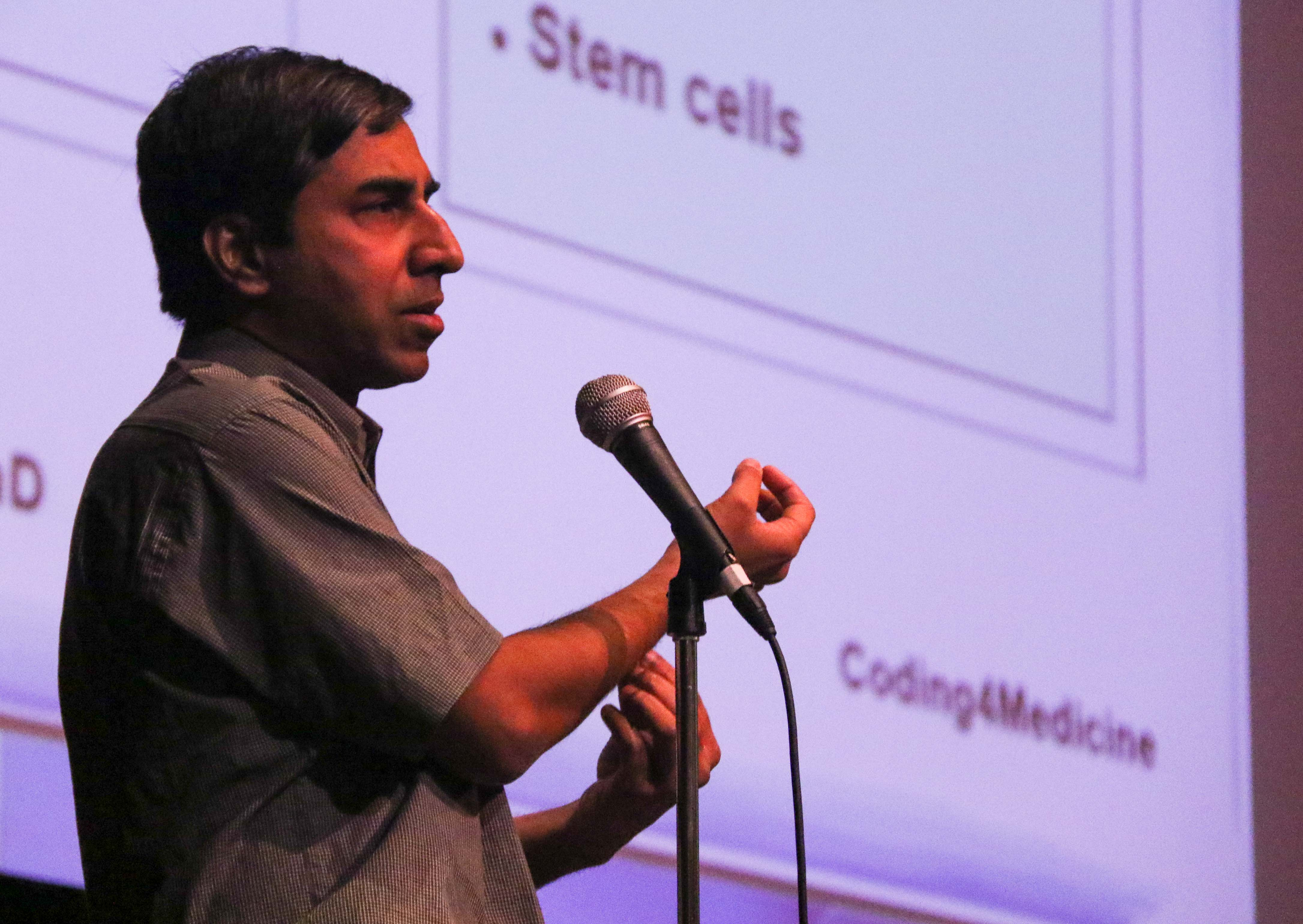 Nuclear scientist Manoj Pratim Samanta paid a visit to the MTHS theater during PASS period to inform students on his summer workshop that will be held in July at the Bellevue College. His introductory presentation covered topics such as DNA coding and STEM cell modification.