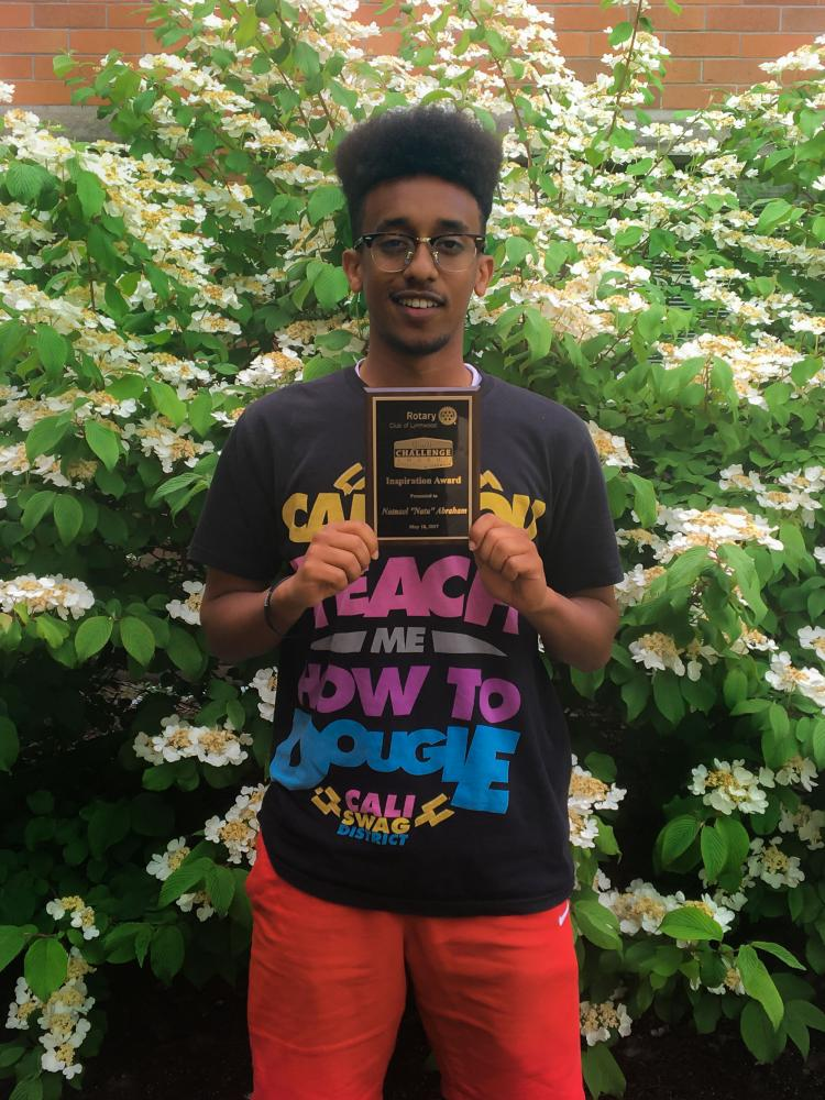 Abraham moved from Eritrea at eight-years-old and needed to adapt to a new culture and society, prompting him to take on a leadership role and establish his own identity. Abraham flaunts his Youth Challenge Award for inspiration.