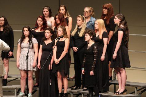 Members of the all combined Chamber and Accents Choir group give an elegant performance of when it was yet dark at their final concert of the year.