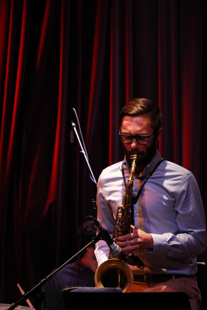 Jacob Krieger, class of 2015, solos on his alto saxophone. Krieger is currently a music student at Central Washington University.