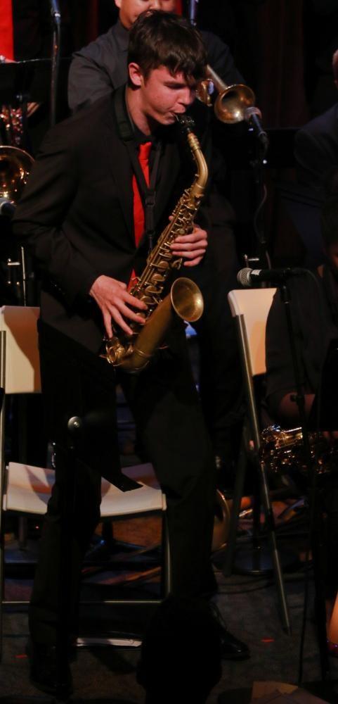 Freshman Caden Hargrave gives a passionate solo during Dahl's orginal piece.