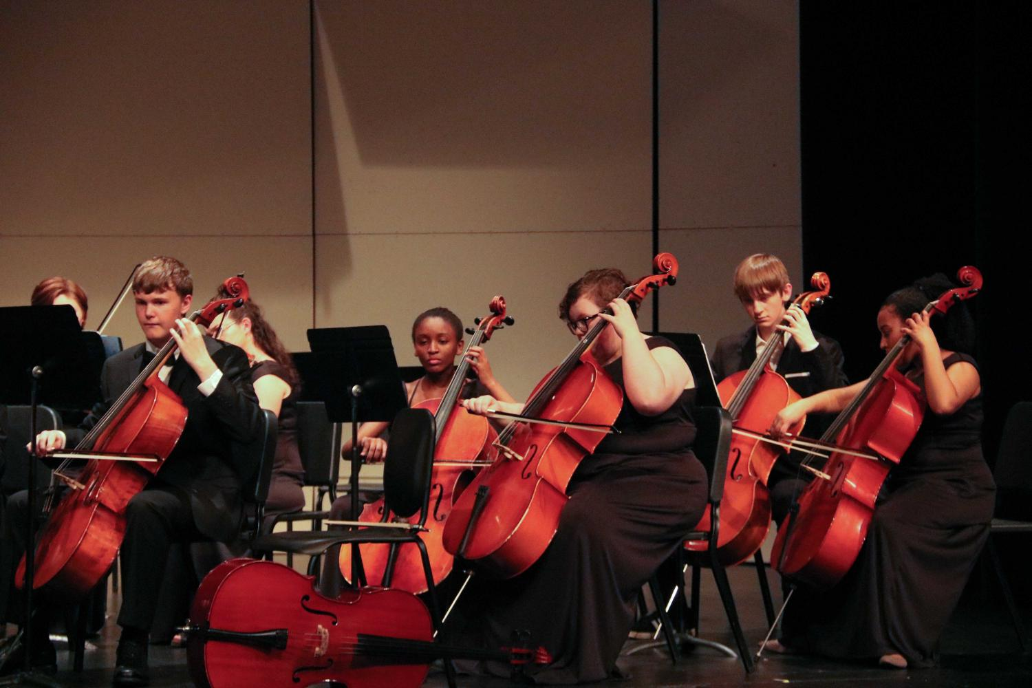 Concert Orchestra cello section performs
