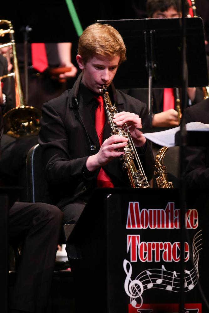 Junior Reece Newhouse switches to the soprano saxophone for one of Jazz 1's five songs.