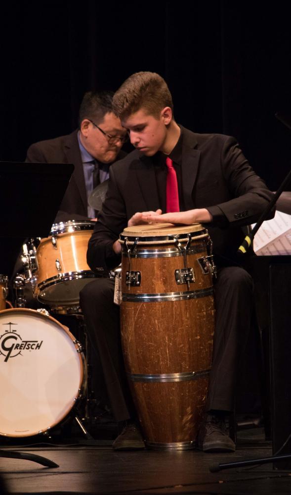 Sophomore Josh Setala and trio-member Dean Koba keep time to the music.