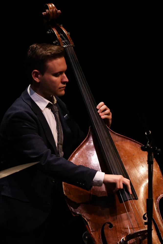 Bass player Alex Frank keeps a steady eye on pianist Tamir Hendelman during each tune.