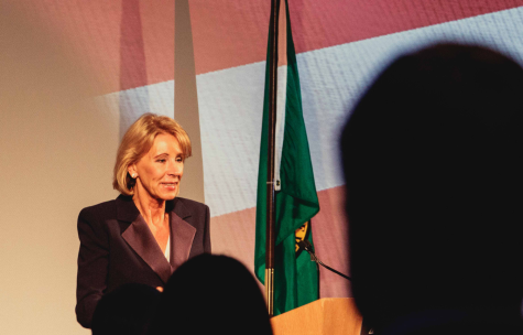 U.S. Secretary of Education Betsy Devos speaks in Bellevue