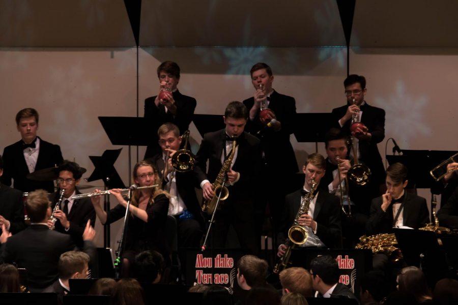 Sophomore Caden Hargrave plays his saxophone.