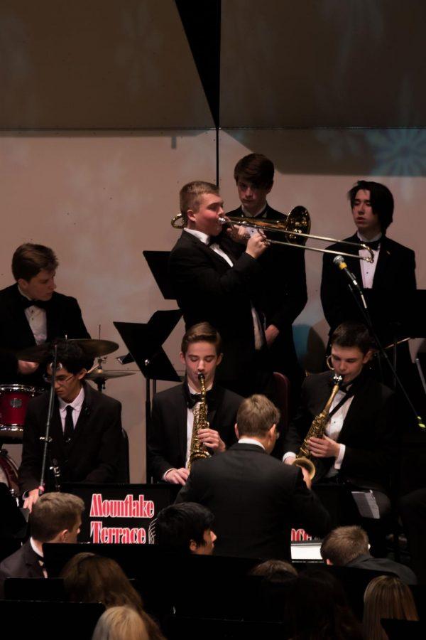 Henry Smith-Hunt plays his trombone.
