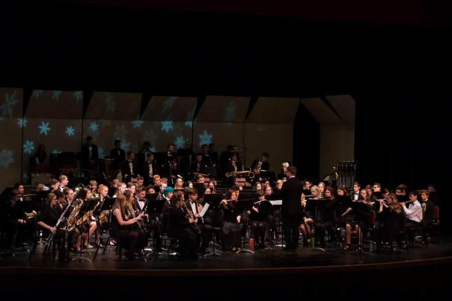 All bands perform while Mr. Darin Faul conducts.