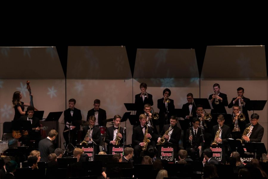 Jazz band performs during the Nutcracker concert.