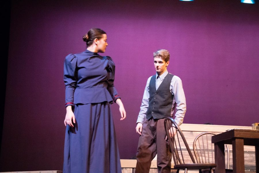 Tiny Wingfield  (Aly Pratt) questioning Dr. Gray about his methods of treating the townspeople.