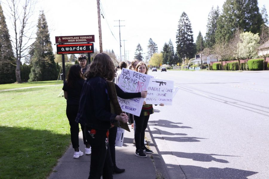 Students at Terrace continue their demonstration along 44th through the end of the school day.