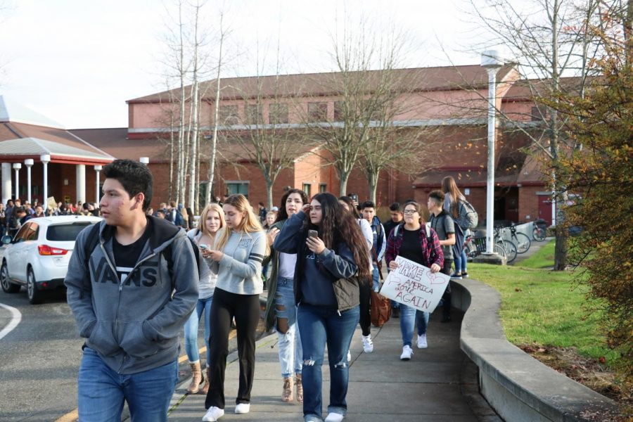 After the 2016 presidential election, more than 100 students participated in a nationwide walk-out to protest the new president elect. Students struggle to have much of a voice in politics being under the age of 18 and unable to vote.
