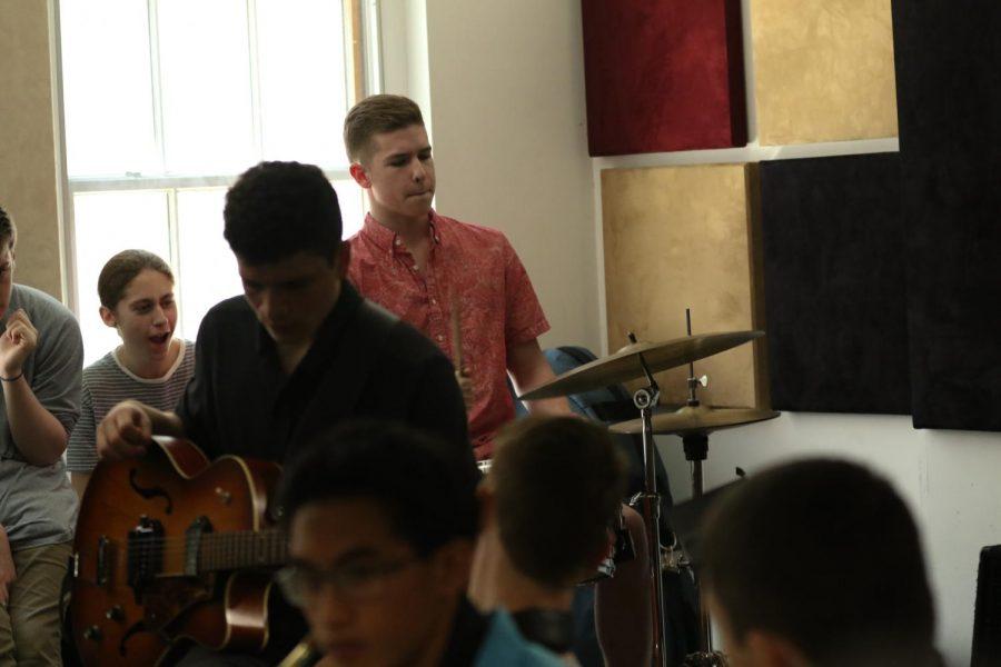 Sophomore Josh Setala delivers his explosive drum solo for