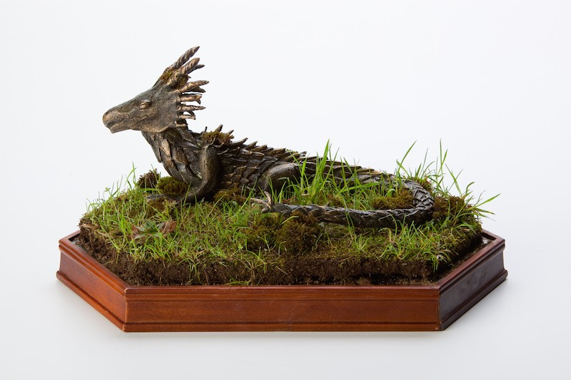 A photo of senor Tyler Burelison's Best of Show winning sculpture of a dragon, entitled