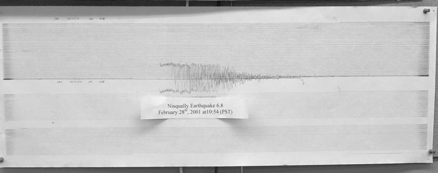 A PNSN seismograph from the 2001 Nisqually earthquake that caused superficial damage to MTHS.