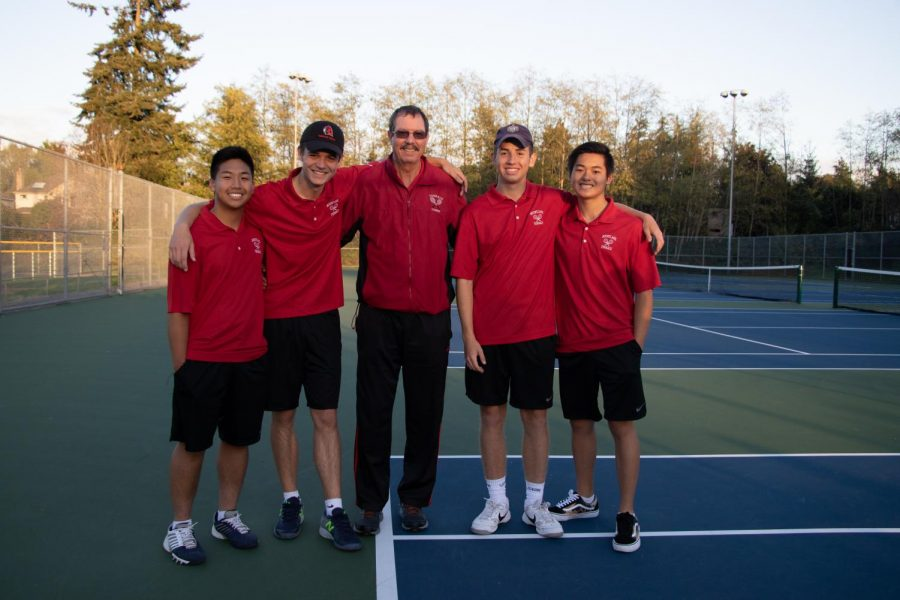 Seniors (left to right) Andy Shaw, Lucas Lemas, Ethan Cruz and Alec Ung celebrate their senior night.