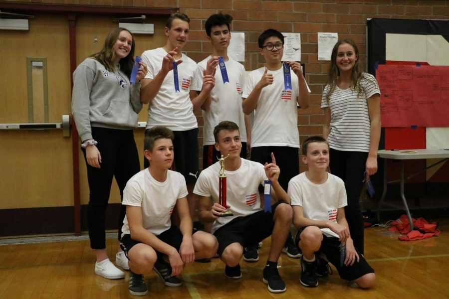 Team America pose with their first-place trophy. Defeating TR3Y WAY in the finals of the MTHS Macho Volleyball tournament, Team America will represent Terrace alongside TR3Y WAY at the district-level Macho Volleyball tournament in the Terraceum on Nov. 7.